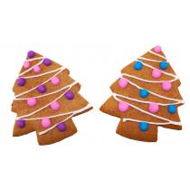 Набор из двух имбирных пряников «Две елочки с гирляндой»