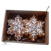 Набор имбирных пряников  из 2 снежинок одноцветных