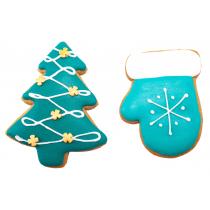 Новогодний набор имбирных пряников «Елка с декором + Варежка малая»