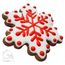 Имбирный пряник «Снежинка шестиугольная с росписью в два цвета»