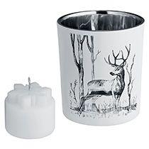 Подсвечник со свечой «Forest», с изображением оленя
