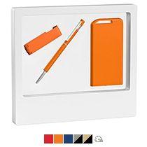 Набор ручка «Star» + флеш-карта «Case» 8 Гб + зарядник «Theta» 4000 mAh в белом футляре
