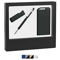 Набор ручка «Star» + флеш-карта «Case» 8 Гб + зарядник «Theta» 4000 mAh в черном футляре