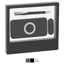 Набор «Камень», ручка, флешка и зарядное устройство, с покрытием soft grip, черный