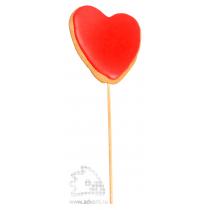 Имбирный пряник «Сердечко на палочке одноцветное заливное»