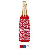Чехол вязаный на бутылку/термос «Зимний орнамент»