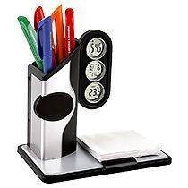 Подставка под ручки с часами, датой, термометром, бумажным блоком