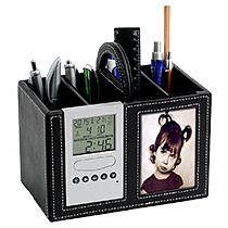 Подставка под ручки с часами, датой, термометром и рамкой для фотографии