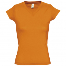 Футболка женская c V-образным вырезом MOON 150, оранжевая