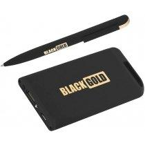 Набор ручка + источник энергии в футляре, черное золото