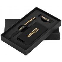 Набор ручка + флеш-карта 8Гб + зарядное устройство 4000 mAh в футляре, черное золото