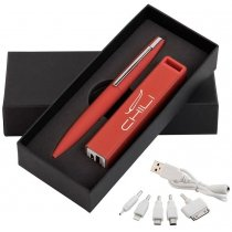 Набор ручка c флеш-картой + зарядное устройство 2800 mAh в футляре
