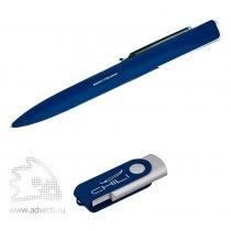 Набор ручка + флеш-карта в футляре, темно-синий