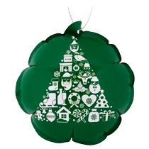 Новогодний самонадувающийся шарик, зеленый