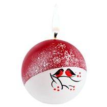 Свеча ручной работы «Снегири на снегу», в форме шара
