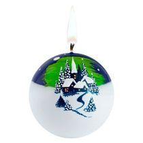 Свеча ручной работы «Северное сияние», в форме шара