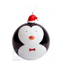 Елочный шар с фигуркой «Новогодний пингвин»