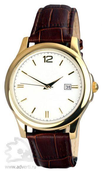 Часы наручные «Дельта», мужские, золотой корпус и белый циферблат с коричневым ремешком