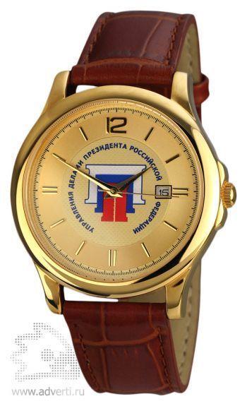 Часы наручные «Дельта», мужские, золотой корпус и циферблат с коричневым ремешком