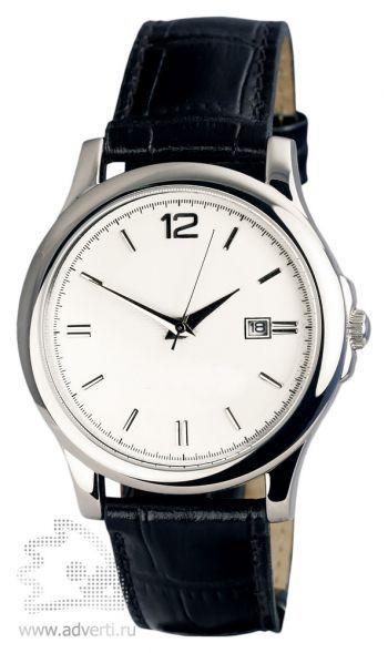 Часы наручные «Дельта», мужские, серебряный корпус и белый циферблат с черным ремешком