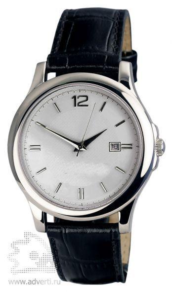 Часы наручные «Дельта», мужские, серебряный корпус и циферблат с черным ремешком