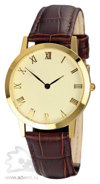 Часы наручные «Альт», мужские, золотой корпус с коричневым ремешком под крокодила