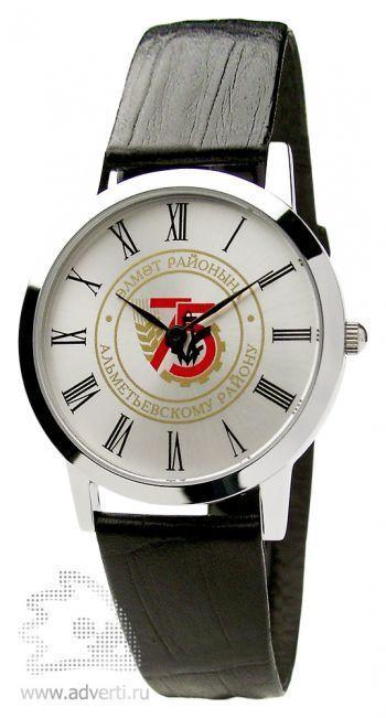 Часы наручные «Альт», мужские, серебряный корпус с черным ремешком