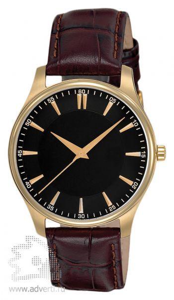 Часы наручные «Джаз», мужские,  золотой корпус с коричневым ремнем и черным циферблатом