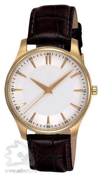 Часы наручные «Джаз», мужские, золотой корпус с коричневым ремнем и белым циферблатом