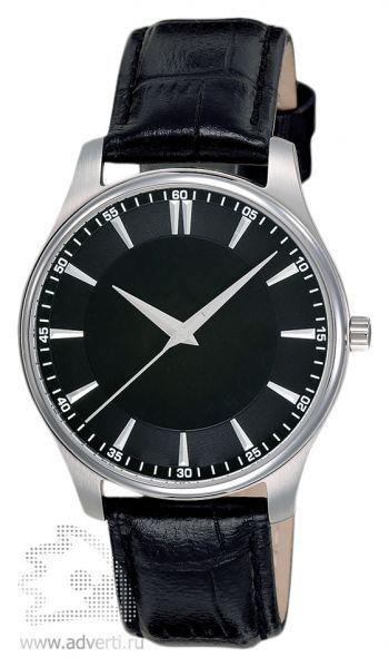 Часы наручные «Джаз», мужские, серебряный корпус с черным ремнем и черным циферблатом