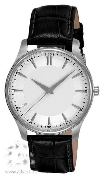 Часы наручные «Джаз», мужские, серебряный корпус с черным ремнем и белым циферблатом
