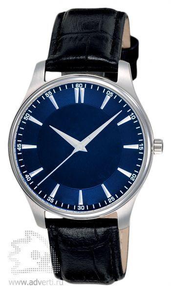 Часы наручные «Джаз», мужские, серебряный корпус с черным ремнем и синим циферблатом