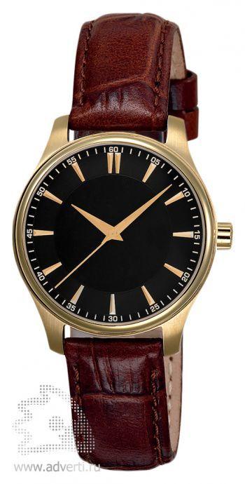 Часы наручные «Калгари», женские, золотой корпус и черный циферблат с коричневым ремнем