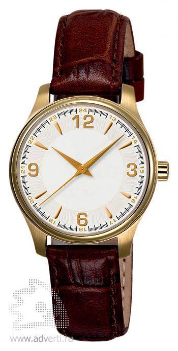 Часы наручные «Калгари» с арабскими цифрами, женские, золотой корпус и белый циферблат с коричневым ремнем