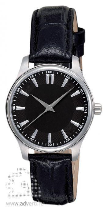 Часы наручные «Калгари», женские, серебряный корпус с черным ремнем и циферблатом