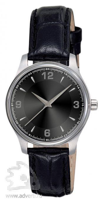 Часы наручные «Калгари» с арабскими цифрами, женские, серебряный корпус с черным ремнем и циферблатом