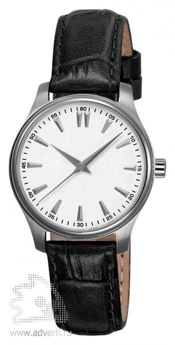 Часы наручные «Калгари», женские, серебряный корпус и белый циферблат с черным ремнем