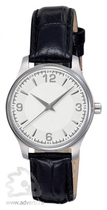 Часы наручные «Калгари» с арабскими цифрами, женские, серебряный корпус и белый циферблат с черным ремнем