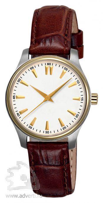 Часы наручные «Калгари», женские, золотой обод и серебряный корпус с белым циферблатом и коричневым ремнем.