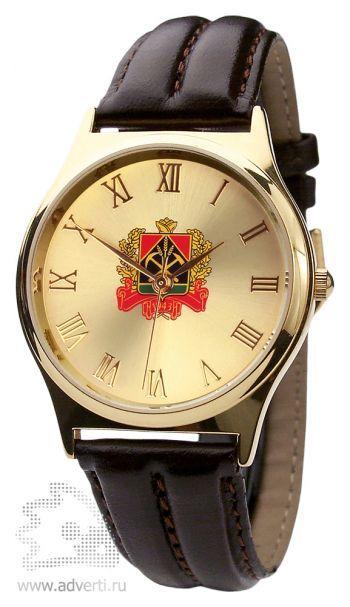 Часы наручные «Модерн», мужские, золотой корпус и циферблат с коричневым ремешком