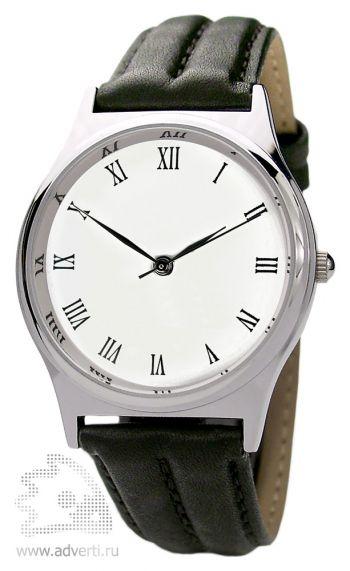 Часы наручные «Модерн», мужские, серебряный корпус с белым циферблатом и черным ремешком