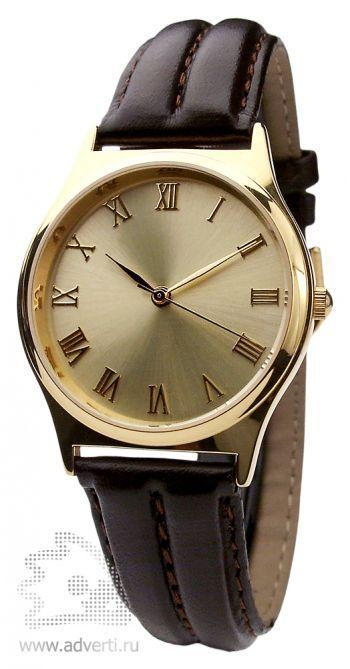 Часы наручные «Монреаль», женские, золотой корпус и циферблат с коричневым ремнем