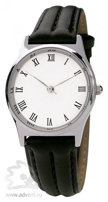 Часы наручные «Монреаль», женские, серебряный корпус и белый циферблат с черным ремнем