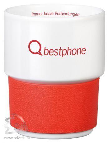 Кружка белая «Purity plus», красная с логотипом
