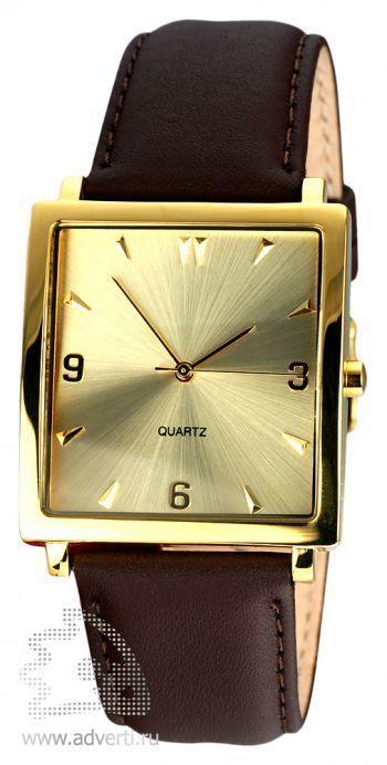 Часы наручные «Мерцание», мужские, олотой корпус и циферблат с коричневым ремнем
