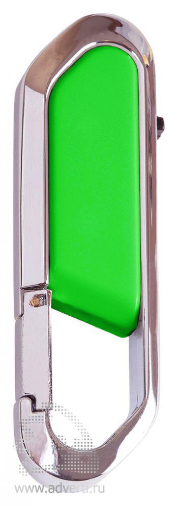 Флеш-память с карабином, зеленая