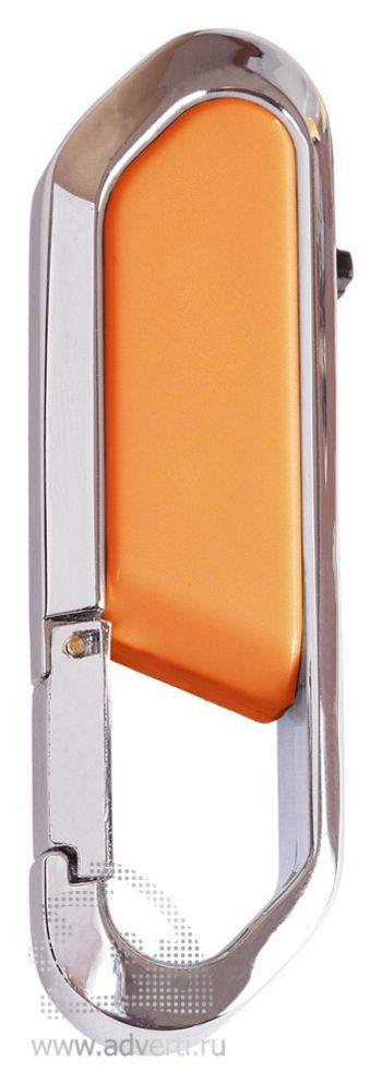 Флеш-память с карабином, оранжевая