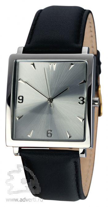 Часы наручные «Мерцание», мужские, серебряный корпус и циферблат с черным ремнем