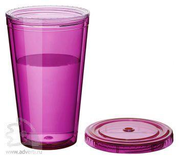 Стакан «Cyclone», розовый, в открытом виде, без трубочки
