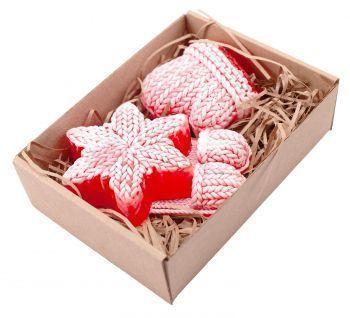 Набор мыла «Вязаный из трех элементов» со снежинкой, в коробке